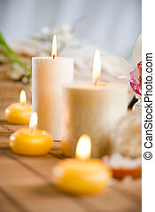 Spa Treatment - Towel, aromatic candles and other spa...