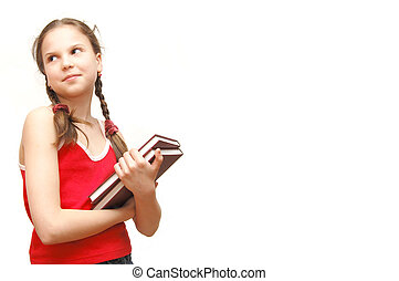 The girl in the red holds books