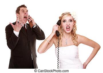 Gritar, relación, furia, pareja, teléfono, dificultades, boda