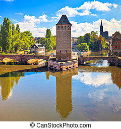 Strasbourg, medieval bridge Ponts Couverts and Cathedral,...