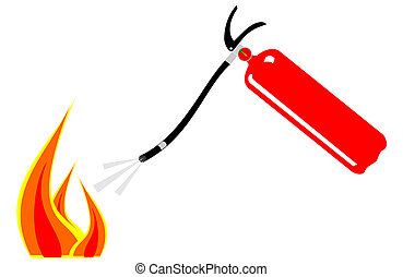A red fire extinguisher putting out flames
