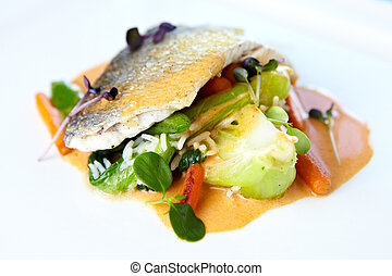 Fried whitefish fillet stir-fried with green vegetables,...