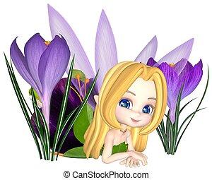 Toon Purple Crocus Fairy, Lounging - Cute toon purple crocus...