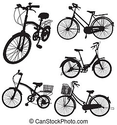 set of bicycle vector