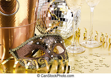 New year's eve still life, golden background.