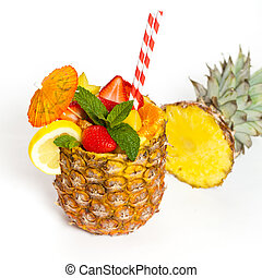 Tropical Fruit Cocktail prepared in pineapple