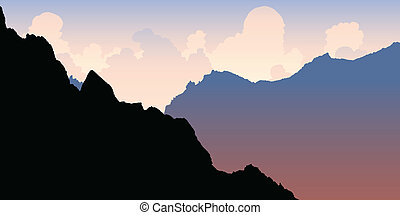 Andes Morning Light - Silhouette of rocky mountain peaks in...