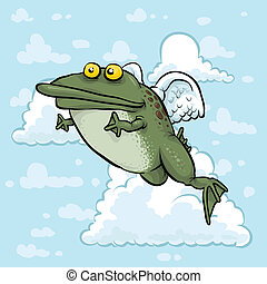 Flying Angel Frog - A cartoon of a frog angel, flying in the...