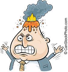 Volcanic Businessman - A cartoon volcano erupts from an...