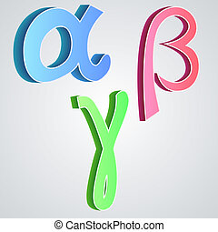 Alpha beta gamma, greek alphabet vector illustration