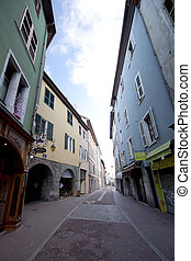 Annecy lanternes - view of the street near Annecy lake, France.
