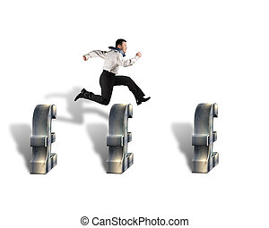 Jumping over pound symbol obstacles in white background