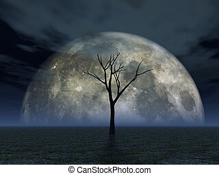 luna - lonely tree in desert and full moon - 3d illustration...
