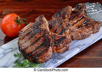 Thick Pork Chops. - Thick two inch pork chops.