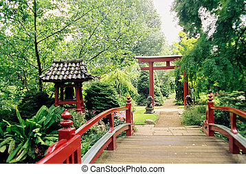 Japanese garden - Red bridge enterance to small japanese...