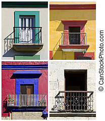 set of colorful balconies in Oaxaca, Mexico