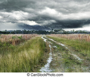 Stormy Weather - Dirt Country Road And Stormy Weather