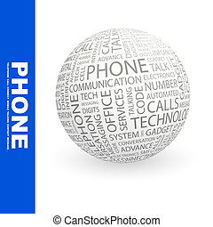 PHONE Word cloud illustration Tag cloud concept collage