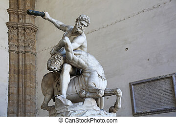 Hercules and the Centaur Nessus in the Loggia dei Lanzi in...