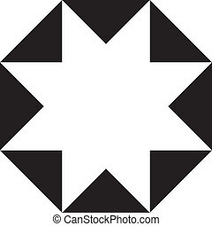 Abstract eight-pointed star, negative space on transparency...