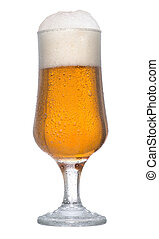 Glass of beer - Ice cold glass of beer on white background