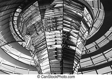 Reichstag dome inside - Glass dome of Reichstag in Berlin,...