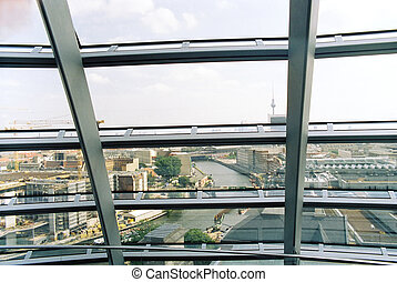 Berlin cityscape from inside Reichstag dome - Berlin...