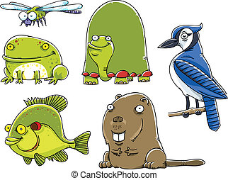 Forest Animals - Set of cartoon forest animals from North...