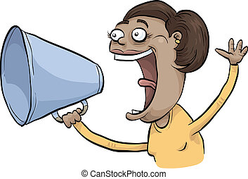 Loud Annoucement - A woman makes a loud announcement through...