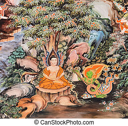 Thai mural painting of the Life of Buddha (Experiment with...