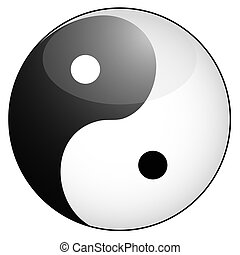 yin yang symbol - isolated glossy yin yang symbol from white...