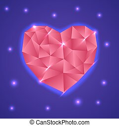 Abstract Triangle Heart. Valentine Card. Vector