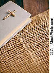Holy Scripture - Image of the Holy Writ on wooden background...