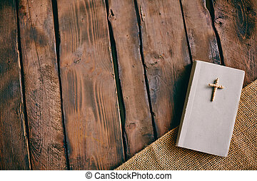 Christian book - Image of Christian book with cross on its...