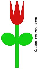 Red Spring Tulip - An simple illustration of red tulip in...