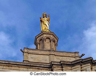 Virgin Mary statue in Avignon, The Popes' Palace, France -...