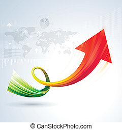 Growth Arrow - Growth arrow sign with business background.