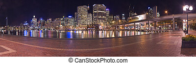 darling harbour panorama - darling harbour at night panorama...