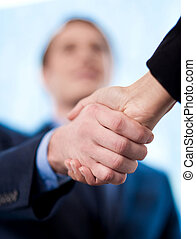 The deal is locked, congratulations! - Business handshake...
