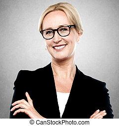Closeup portrait of a middle aged businesswoman - Happy...