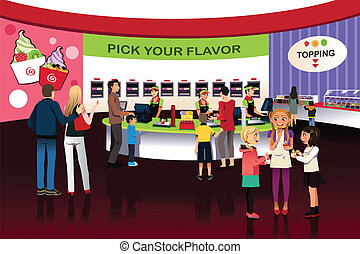 People in a yogurt ice cream store - A vector illustration...