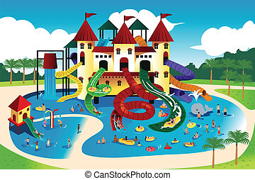 People going to water park - A vector illustration of...