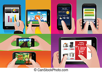 People using tablet and cell phones - A vector illustration...