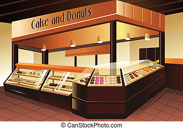 Grocery store: cake and donuts section - A vector...