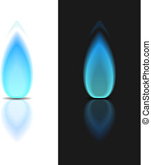 Gas Flame - Gas flame on dark and white backgrounds, vector...