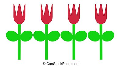 Red Spring Tulips - An simple illustration of red tulips in...