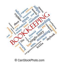 teneduría de libros, palabra, nube, concepto, angular