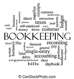Bookkeeping Word Cloud Concept in black and white with great...