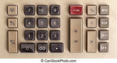 Old calculator for doing office related work, covered in...