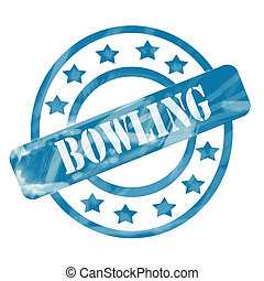 Blue Weathered Bowling Stamp Circles and Stars